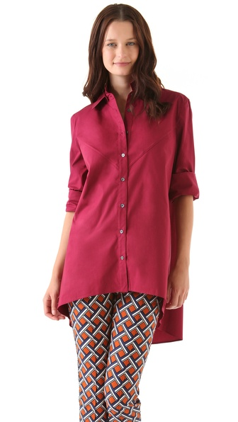 10 Crosby Derek Lam Shirttail Button Down Blouse