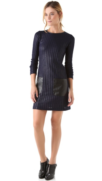 10 Crosby Derek Lam Knit Dress with Faux Leather Trim