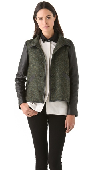 10 Crosby Derek Lam Tweed Jacket with Leather Sleeves