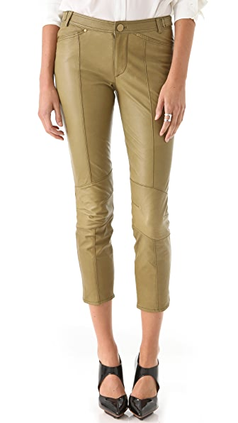 Derek Lam 10 Crosby Cropped Slim Leather Pants