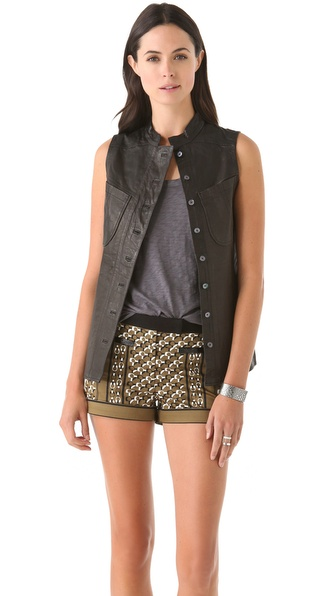 Derek Lam 10 Crosby Leather Button Down Vest