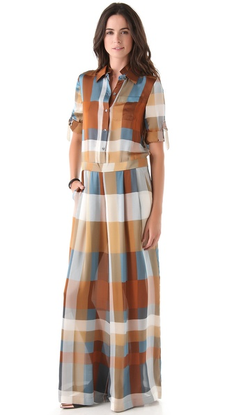 10 Crosby Derek Lam Plaid Wide Leg Jumpsuit