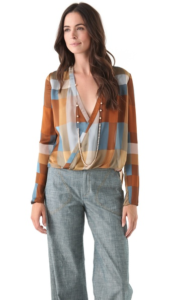 10 Crosby Derek Lam Plaid Wrap Blouse