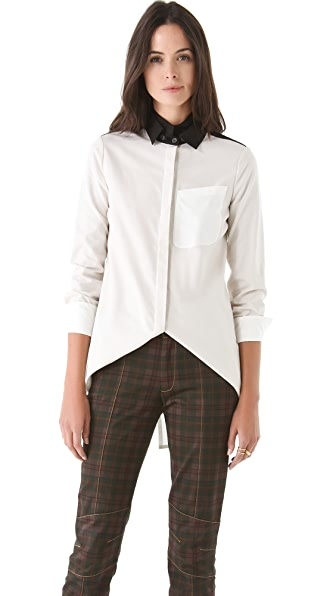 Derek Lam 10 Crosby Double Collar Colorblock Blouse