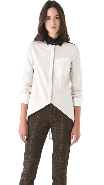 10 Crosby Derek Lam Double Collar Colorblock Blouse