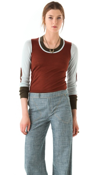 10 Crosby Derek Lam Colorblock U Neck Sweater