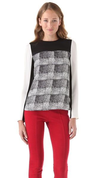 10 Crosby Derek Lam Silk Check Blouse