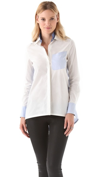 10 Crosby Derek Lam Double Collar Combo Shirt
