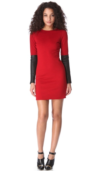 10 Crosby Derek Lam Sweater Dress with Leather Sleeves