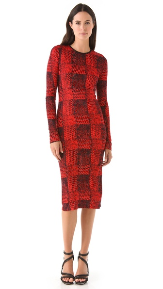 Derek Lam 10 Crosby Checkered Crew Neck Dress