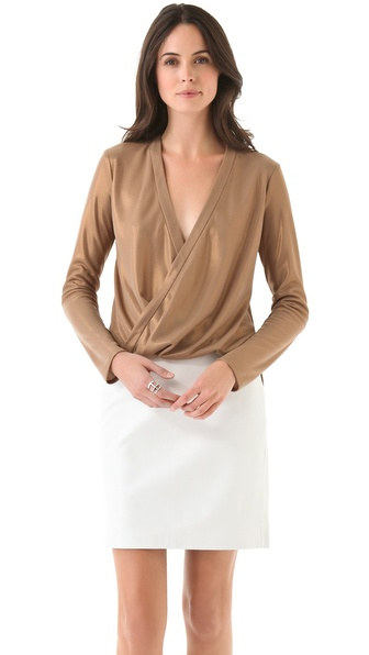 10 Crosby Derek Lam Foiled Wrap Front Blouse