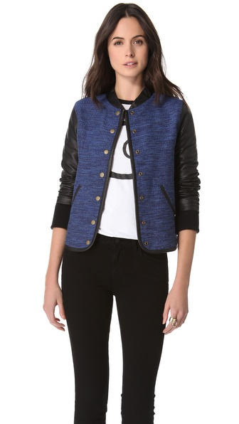 10 Crosby Derek Lam Varsity Leather Sleeve Jacket