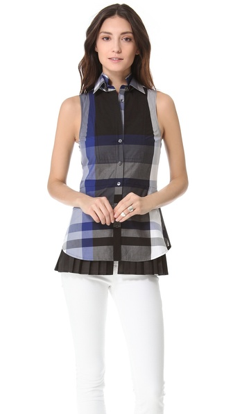 10 Crosby Derek Lam Double Collar Plaid Blouse