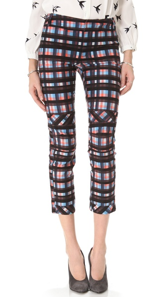 10 Crosby Derek Lam Plaid Slim Pants with Knee Seams