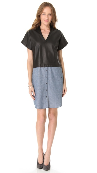 10 Crosby Derek Lam Oversized V Neck Dress with Leather