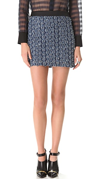 Derek Lam 10 Crosby Shredded Denim Tuxedo Skirt