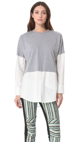 10 Crosby Derek Lam Poplin Combo Oversized Top