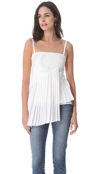 10 Crosby Derek Lam Poplin Pleated Tank
