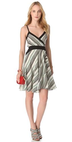 10 Crosby Derek Lam Tone Stripe Surplice Dress