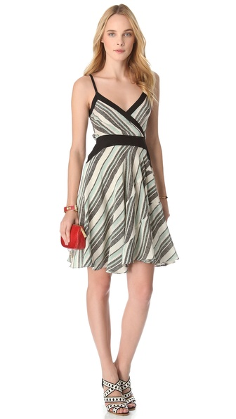 10 Crosby Derek Lam Tone Stripe Surplice Dress