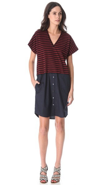 10 Crosby Derek Lam Combo Poplin Dress