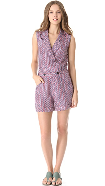 Derek Lam 10 Crosby Diamond Open Back Romper
