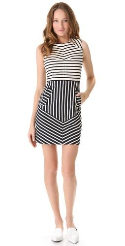 10 Crosby Derek Lam Sleeveless Combo Stripe Dress