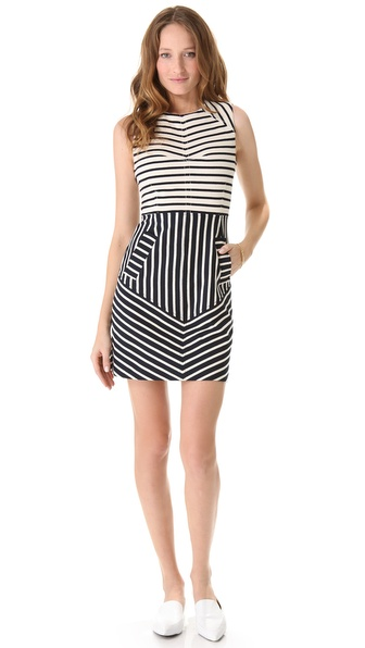 10 Crosby Derek Lam Sleeveless Combo Stripe Dress