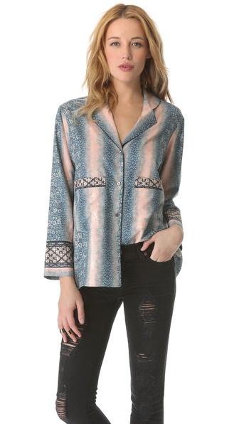 10 Crosby Derek Lam Lizard Print Pajama Shirt