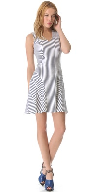 10 Crosby Derek Lam V Neck Tulip Pinstripe Dress