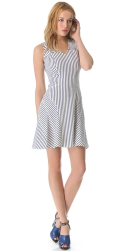 10 Crosby Derek Lam V Neck Tulip Pinstripe Dress from shotfashion.com