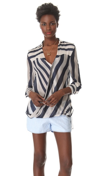 10 Crosby Derek Lam Striped Surplice Blouse