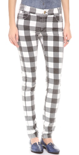 10 Crosby Derek Lam Slim Plaid Velvet Pants