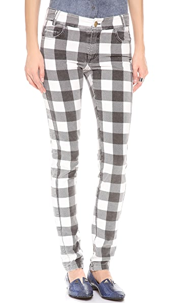 Derek Lam 10 Crosby Slim Plaid Velvet Pants