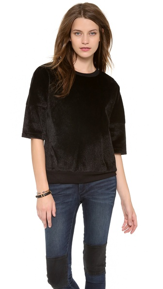 10 Crosby Derek Lam Oversized Faux Haircalf Top