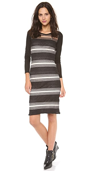 Derek Lam 10 Crosby Sheer Stripe Sweater Dress