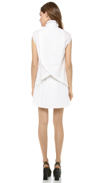 10 Crosby Derek Lam Shirt Dress with Pleated Skirt