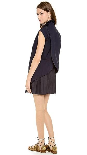 Derek Lam 10 Crosby Shirt Dress with Pleated Skirt