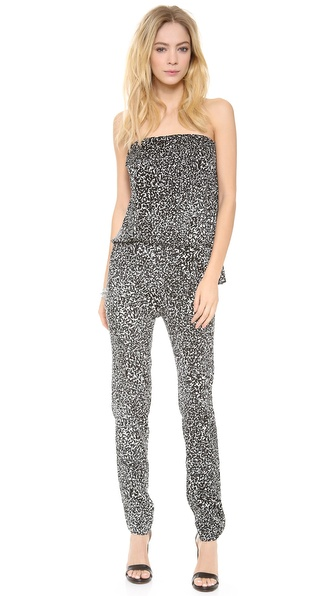 10 Crosby Derek Lam Travertine Print Strapless Jumpsuit