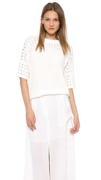Derek Lam 10 Crosby Short Sleeve Grommet Top