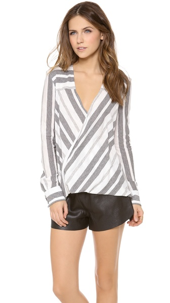 10 Crosby Derek Lam Stripe Draped Blouse