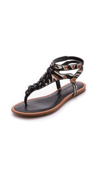 10 Crosby Derek Lam Damast Chain Link Flat Sandals - Brown/Zebra Print