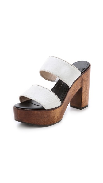 10 Crosby Derek Lam Luanda Too Haircalf Mules - Soft White/Brown at Shopbop / East Dane