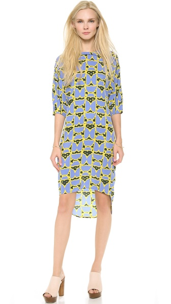 10 Crosby Derek Lam 3/4 Sleeve Dome Print Dress