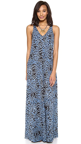 Derek Lam 10 Crosby V Neck Leopard Print Maxi Dress