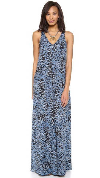 10 Crosby Derek Lam V Neck Leopard Print Maxi Dress