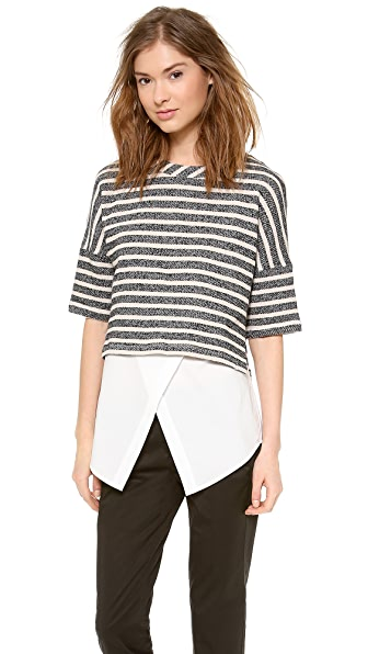 Derek Lam 10 Crosby 2 in 1 Combo Sweatshirt Tunic