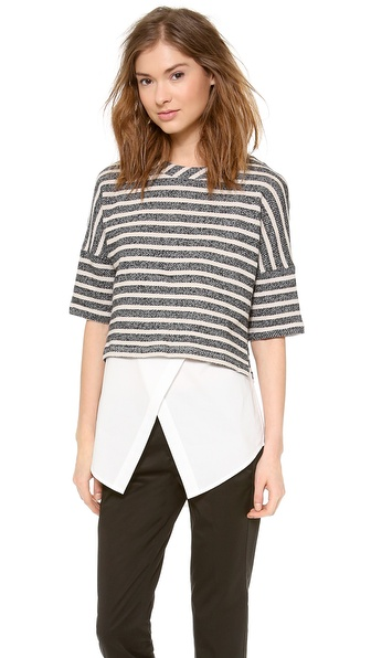 10 Crosby Derek Lam 2 in 1 Combo Sweatshirt Tunic