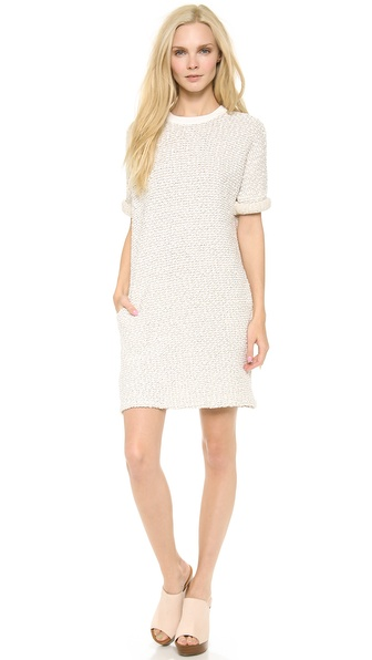 10 Crosby Derek Lam T-Shirt Dress with Leather Trim