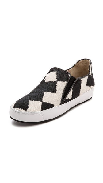 10 Crosby Derek Lam Jared Slip On Haircalf Sneakers - Black/White
